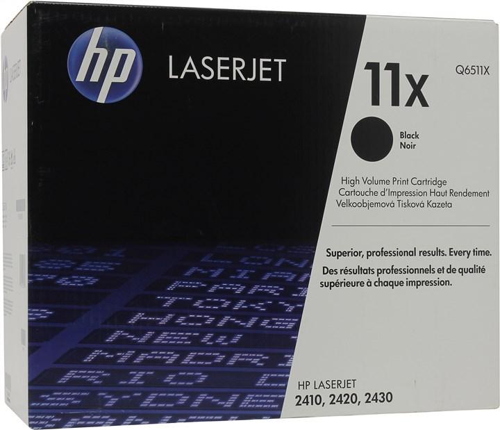 Картридж лазерный HP 11X/Q6511X, черный, 1шт., 12000 страниц, оригинальный, для HP LaserJet 2420dn / 2420 / 2420d / 2420n / 2430dtn / 2430t / 2430tn