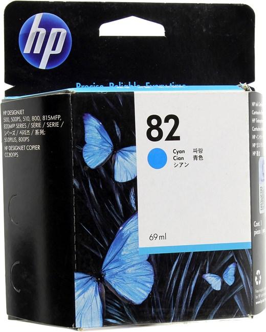 Картридж струйный HP 82 (C4911A), голубой, оригинальный, объем 69мл, для HP Designjet 820 MFP / 500 Plus / 500ps Plus / 510 / 510ps / 800 / 800ps /500 / 8415 MFP / cc800ps