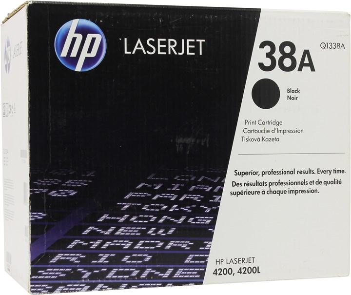 Картридж лазерный HP 38A/Q1338A, черный, 1шт., 12000 страниц, оригинальный, для HP LaserJet 4200dtns / 4200ln / 4200 / 4200dtn / 4200dtnsl / 4200n / 4200tn