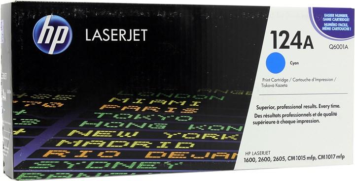 Картридж лазерный HP 124A/Q6001A, голубой, 1шт., 2000 страниц, оригинальный, для HP Color LaserJet 1600 / 2600n / 2605 / 2605dn / 2605dtn