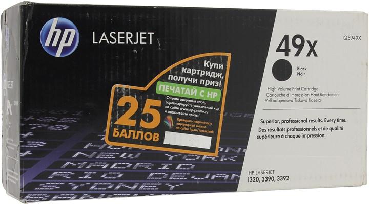 Картридж лазерный HP 49X/Q5949X, черный, 1шт., 6000 страниц, оригинальный, для HP LaserJet 1320tn / 1390 / 1392