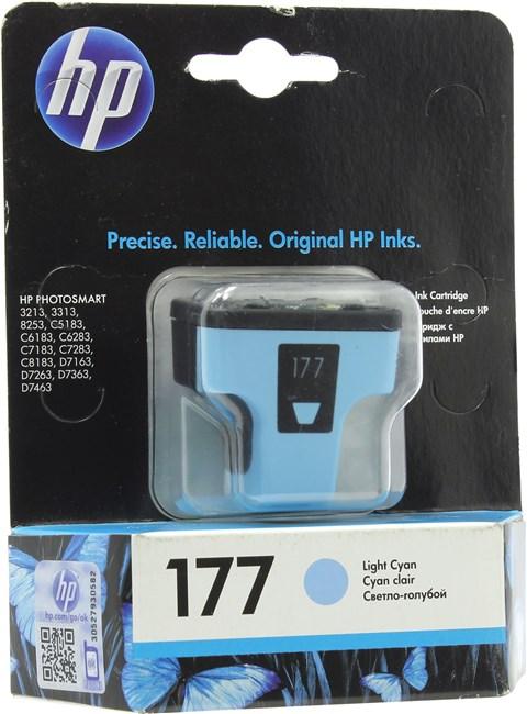 Картридж струйный HP 177 (C8774HE), светло-голубой, оригинальный, ресурс 220 страниц, для HP Photosmart C7183 / C5183 / C6283 / C7283 / C8183 / D7163 / D7263 / D7363 / D7463 / C6183 / 3213 / 3313 / 8250 / 8253