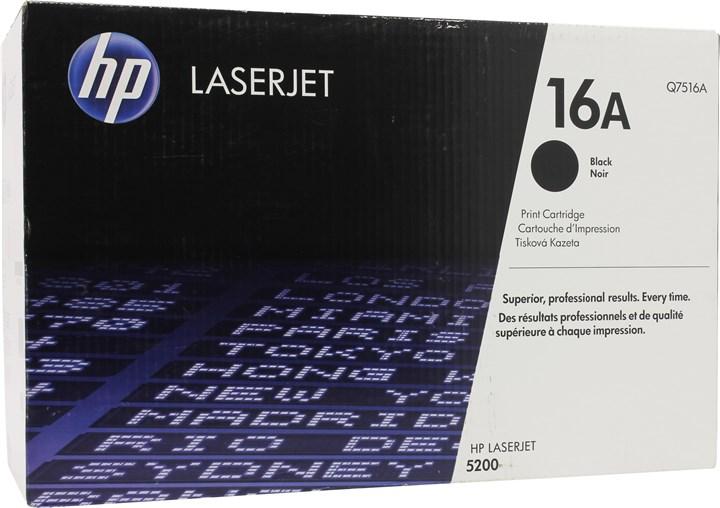Картридж лазерный HP 16A/Q7516A, черный, 1шт., 12000 страниц, оригинальный, для HP LaserJet 5200dtn / 5200 / 5200L / 5200tn