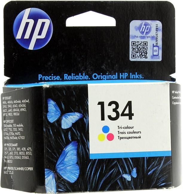 Картридж струйный HP 134 (C9363HE), голубой/пурпурный/желтый, оригинальный, объем 14мл, ресурс 560 страниц, для HP Officejet 100 / 150 / H470 / K7103 / 4212 / 6213 / 7213 / 7310 / 7410, HP Deskjet 6943 / 6983 / 5940 / 460, HP Photosmart Pro B8353 / D5063 / 2573 / 2613 / 425 / 428 / 325 / 335 / 375 / 385 / 475, HP PSC 2355 / 2353 / 2410