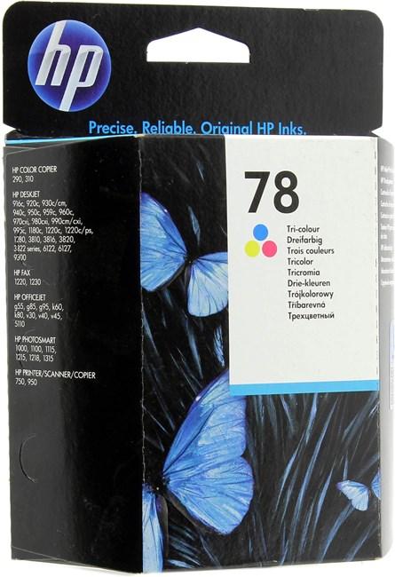 Картридж струйный HP 78 (C6578DE/C6578DA), голубой/пурпурный/желтый, оригинальный, объем 19мл, ресурс 560 страниц, для HP Deskjet 1180c / 1220c / 1220c/PS / 1280 / 920c / 9300 / 930c / 950c / 970cxi, HP Officejet G85 / K80 / V40, HP PSC 750