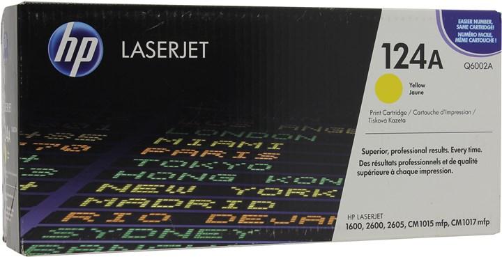 Картридж лазерный HP 124A/Q6002A, желтый, 1шт., 2000 страниц, оригинальный, для HP Color LaserJet 1600 / 2600n / 2605 / 2605dn / 2605dtn