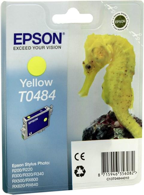 Картридж струйный Epson T0484 (C13T04844010), желтый, оригинальный, ресурс 430 страниц, для Epson Stylus Photo R200 / R220 / R300 / R320 / R340 / RX500 / RX600 / RX620 / RX640