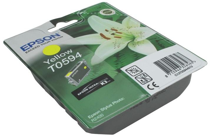 Картридж струйный Epson T0594 (C13T059440), желтый, оригинальный, ресурс 440 страниц, для Epson Stylus Photo R2400