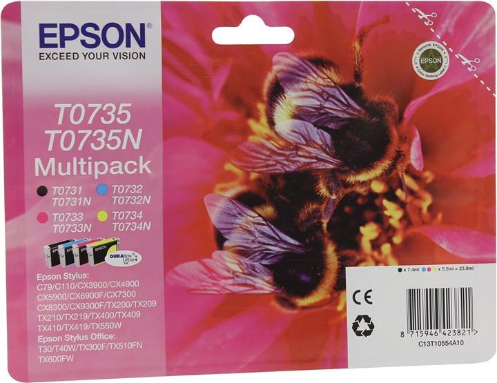 Комплект картриджей струйный Epson T0735 (C13T07354A10), голубой/пурпурный/желтый/черный, оригинальный, ресурс 235 страниц, 4шт., для Stylus C79 / CX3900 / CX4900 / CX5900 / CX6900F