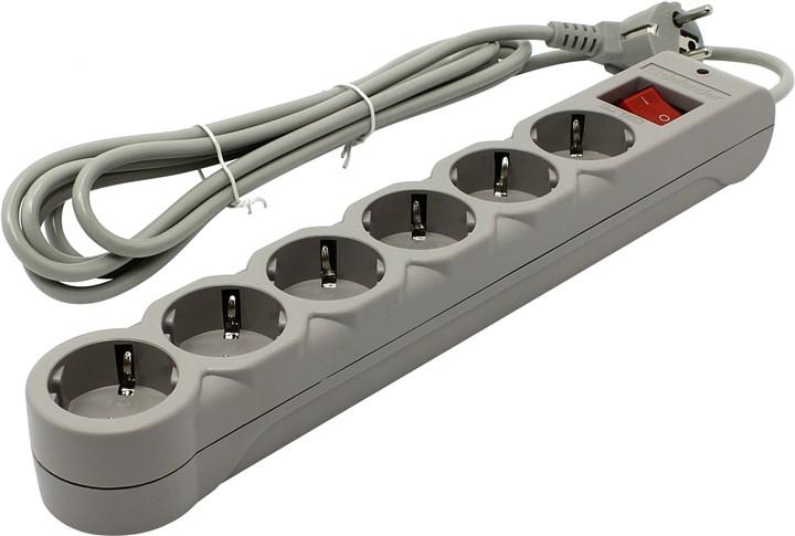 Сетевой фильтр Defender DFS-603, 6-розеток, 3m, серый (99407)