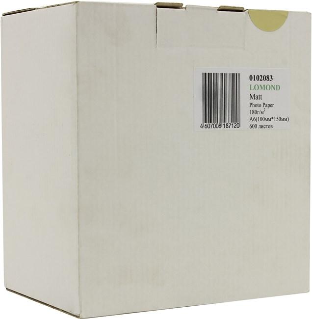 Фотобумага A6 180г/м2 матовая, 600 листов, односторонняя, Lomond 0102083 для струйной печати