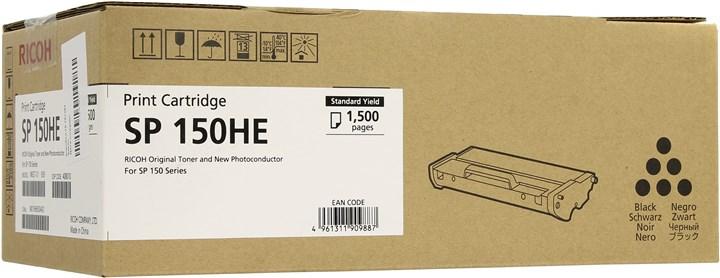 Картридж лазерный Ricoh SP 150НE/408010, черный, 1500 страниц, оригинальный, для Ricoh SP150 / SP150SU