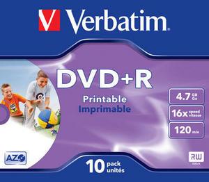 Диск Verbatim DVD+R, 4.7Gb, 16x, Jewel Case, 10 шт, Printable (43508)