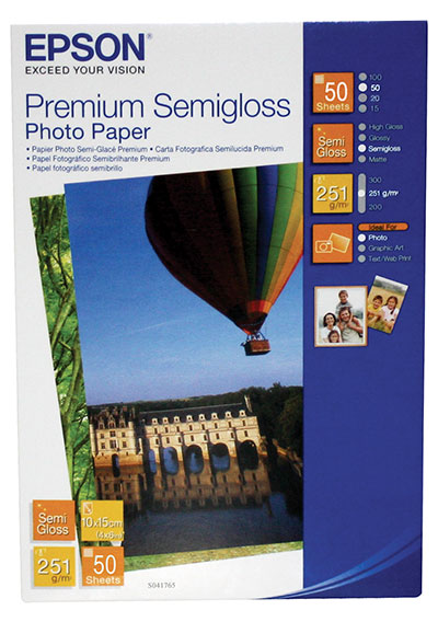 Фотобумага A6 251г/м2 полуглянцевая, 50 листов, односторонняя, Epson S041765/C13S041765 для струйной печати